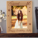 Happy Sweet 16 Birthday Personalized Wooden Picture Frame