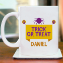 Trick or Treat a Scaring Personalized Mug With Name Printed on It