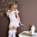White Lace Mini Dress with Ruffles and Matching Hose