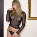 Sexy Black Fishnet Top and Bottom Long Sleeve Night wear