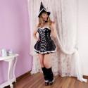 Elegant Witch Vinyl Look Halloween Women Costume