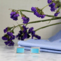 Elegant Silver Cuff Links with Sky Blue Insets Excellent For Men