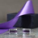 Purple Inlay and Cubic Zirconium Brass Cuff Links Beautiful Gift