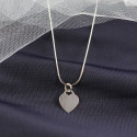 Heart Tag Pendant with Snake Chain Necklace Custom Engraved Initials