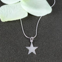 Engravable Beautiful Star Pendant with Square Snake Chain Necklace