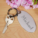 Personalized Silver Metal Oval Keychain With Printed Custom Name /Quote
