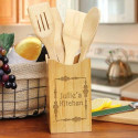 Engraved Vineyard Bamboo Kitchen Utensil Set
