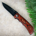 Engraved Wood Folding Pocket Knife