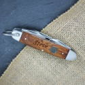 Engraved Dark Wood Pocket Knife