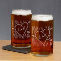 Initial Carved Beer Can glass