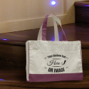 Personalized Maroon Cotton Canvas Tote Bag with Inside Zipper Pocket