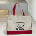Personalized Red Cotton Canvas Tote Bag with Inside Zipper Pocket