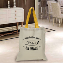 Personalized Cotton Tote Bag with Gold Handles