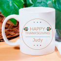Happy Thanksgiving Personalized Mug With Laser Engraved Print