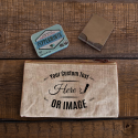 Personalized Natural Rectangular Jute / Canvas Pouch with Zipper Closure