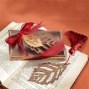Turning Leaves Bronze Metal Bookmark with Burgundy Silk Tassel