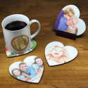 Custom Heart Shaped Coaster Set with Personalized Image Photo