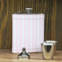 Personalized Genuine 6oz Pink Striped Beautiful Leather Flask Gift Set