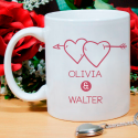 Twin Hearts with Arrow for Couples Personalized Mug of Valentine Day