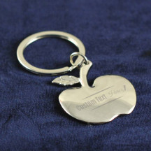 Personalized Apple Shaped Key Chain with Custom Name Monogram Printed