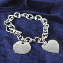 Personalized Stainless Steel Charm Bracelet with Heart & Disk Charms