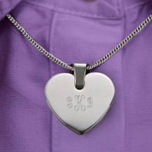 Personalized Heart Shaped Pendant & Necklace with Custom Name/Quote