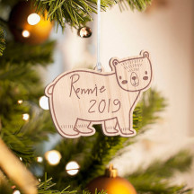 Personalized Polar Bear Wooden Merry Christmas Ornament