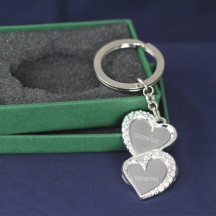 Personalized Double Heart Keychain with Custom Name Monogram Engraved
