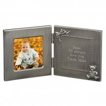 Personalized Hinged Wooden Baby Frame with Printed Personalized Message/Quote