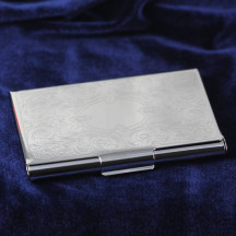 Personalized Nickel Finish Card Case with Embossed Scroll Cover and Custom Name/Quote