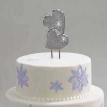 "Personalized 7"" Glitter Galore  Beautiful Cake Topper Double Hearts"