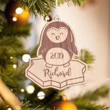 Personalized Wooden Owl Merry Christmas Ornament