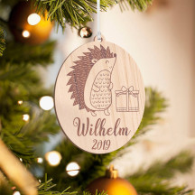 Personalized Wooden Porcupine Inspired Merry Christmas Ornament