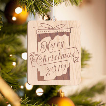 Personalized Wooden Rectangle Gift Box Inspired Merry Christmas Ornament