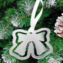 Bow Bookmark Ornament With Silver Ribbon with Engraved Message Or Name