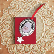 Personalized Baby's 1St  Oval Photo Ornament with Custom Name Message