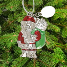 Personalized Red and Green Santa with Bag Ornament with Custom Message