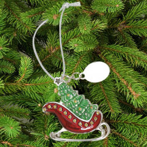 Christmas Tree and Red Sleigh Ornament Custom Engraved Message Name