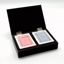 Personalized Two Poker Card Decks in Wooden Box
