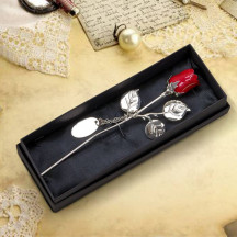 """7.5"""" Decorative Silver Plated Valentines Red Rose Custom Name Message"""