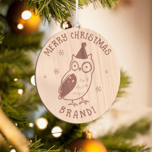 Personalized Wooden Baby Owl Merry Christmas Ornament