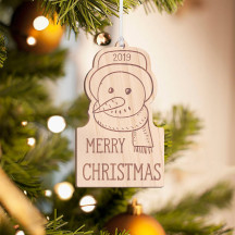 Personalized Wooden Penguin with Scarf and Hat Merry Christmas Ornament