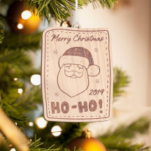 Personalized Wooden Santa's Face Merry Christmas Ornament