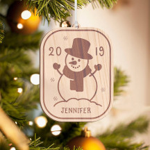 Personalized Wooden Penguin with Santa's Hat Merry Christmas Ornament