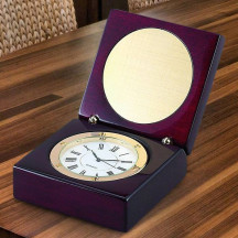 Personalized Wooden Square Box Clock with Custom Image /Quote printed