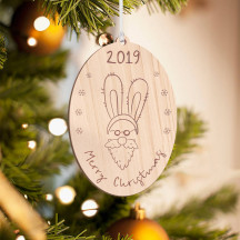 Personalized Oval Shaped Wooden Santa Beard and Long Ears Merry Christmas Ornament