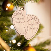 Personalized Wooden My First Christmas Baby Feet Merry Christmas Ornament