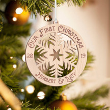 Personalized Wooden Round Detailed Our First Christmas Merry Christmas Ornament