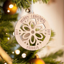 Personalized Wooden Circle with Flowery Detail Merry Christmas Ornament