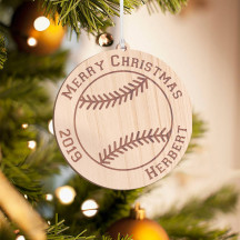 Personalized Wooden Circle with Twig Detail Merry Christmas Ornament